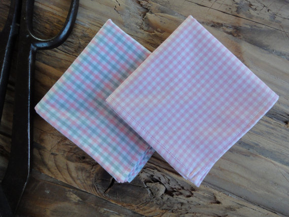 Pink and Grey Gingham Handkerchief