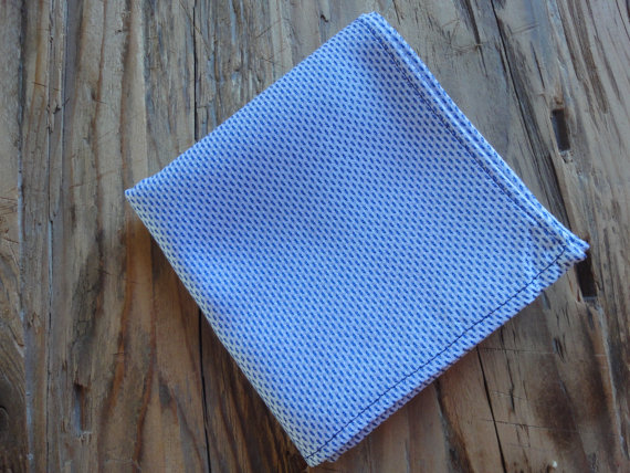 Navy and White Pocket Square