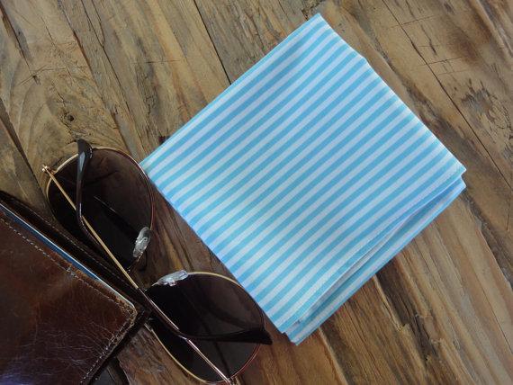Men's Turquoise Striped Pocket Square