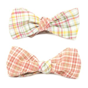 Two Plaid Reversible Bow Tie