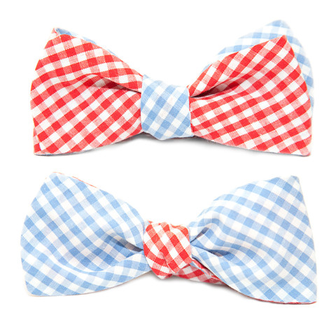 Blue and Red Cotton Gingham Reversible Bow Tie