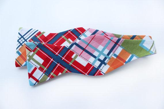 Bow Tie -Madras Plaid - Men's Self Tie - Freestyle Tie