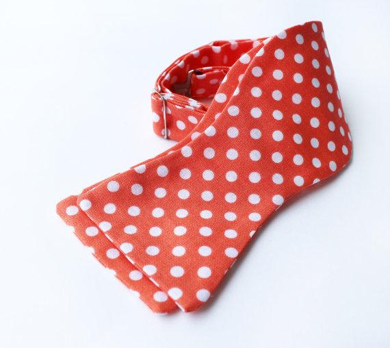 Bow Tie - Orange Polka Dot - Men's Self Tie - Freestyle Tie