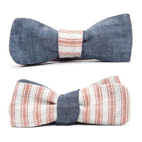 Chambray and Canvas Reversible Bow Tie