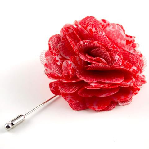 Red Damascus Flower Lapel Pin