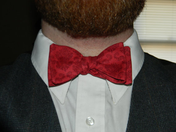 Red and Crimson Ornate Thistle/Butterfly Cotton Bowtie