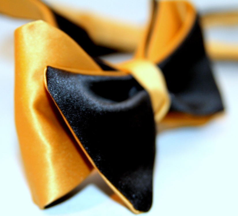 Black/Gold Satin Freestyle Self-Tie