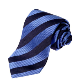 Light Blue and Navy Pari Pari Silk Tie