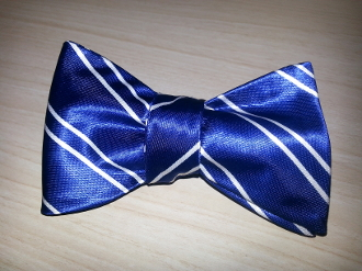 Tiger Blue-White Stripes Bow Tie
