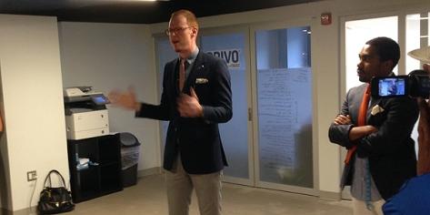 Eric Schulze MC-ing the Clinic