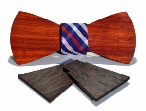 the barcelona interchangeable wooden bow tie box set padauk trad